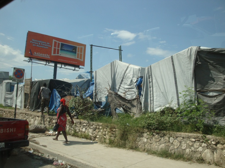 Photo of makeshift dwellings 21 months after the 2010 Haiti earthquake