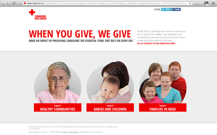 Screen shot of Canadian Red Cross Pick Your Gift Campaign choices